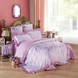 Purple Flowers Printed Princess Style 6-Piece Cotton Sateen Bedding Sets/Duvet Cover