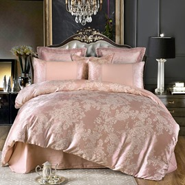 Peony Floral Jacquard Luxury Style Cotton Silky 4-Piece Bedding Sets/Duvet Cover