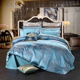 Luxury Jacquard Silky 4-Piece Cotton Bedding Sets Light Blue Smooth Duvet Cover Set for Queen/Full Size Bed with Non-slip Ties
