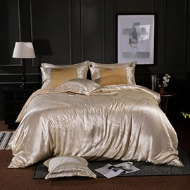Pure Color Golden Jacquard Shiny Satin 4-Piece Bedding Sets/Duvet Cover