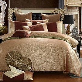 Elegant Style Golden Jacquard Satin 4-Piece Bedding Sets/Duvet Cover