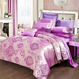 Purple Gorgeous Floral Jacquard Stain 4-Piece Bedding Sets/Duvet Cover