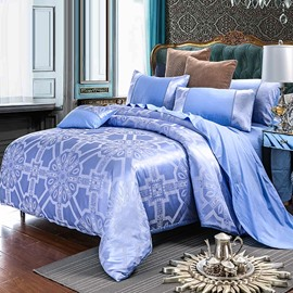 Geometric Pattern Jacquard Shiny Satin Blue 4-Piece Bedding Sets/Duvet Cover