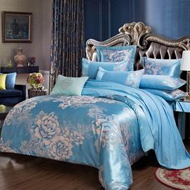 Flower Jacquard Pattern Shiny Satin Blue 4-Piece Bedding Sets/Duvet Cover