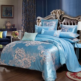 Flower Jacquard Pattern Shiny Satin Blue 4-Piece Bedding Sets/Duvet Cover