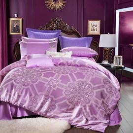 Unique Geometric Jacquard Shiny Satin Purple 4-Piece Bedding Sets/Duvet Cover