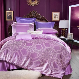 Unique Geometric Jacquard Shiny Satin Purple 4-Piece Bedding Sets/Duvet Cover