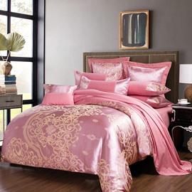 Light Pink Flower Jacquard 4-Piece Bedding Sets/Duvet Cover
