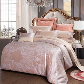 Elegant Jacquard Style Pink 4-Piece Bedding Sets/Duvet Cover