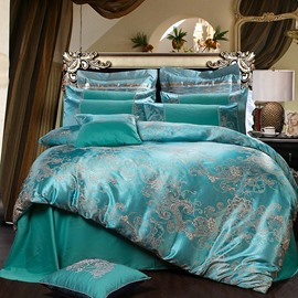 Exquisite Satin Jacquard Smooth Green 4-Piece Bedding Sets/Duvet Cover