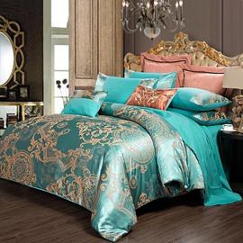 Golden Geometric Pattern Jacquard Smooth Satin 4-Piece Bedding Sets/Duvet Cover