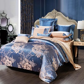 Floral in Full of Bloom Jacquard Satin 4-Piece Bedding Sets/Duvet Cover