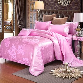 Pink Flower Jacquard 4-Piece Bedding Sets/Duvet Cover
