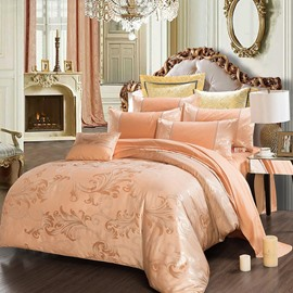 Luxury Satin Jacquard Skin-friendly Silky 4-Piece Cotton Bedding Sets Beige Smooth Duvet Cover Set for Queen/Full Size Bed with Non-slip Ties