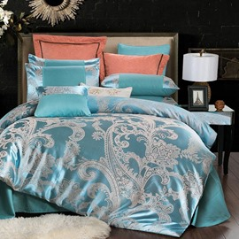 Lake Blue Exquisite Jacquard Style 4-Piece Bedding Sets/Duvet Cover