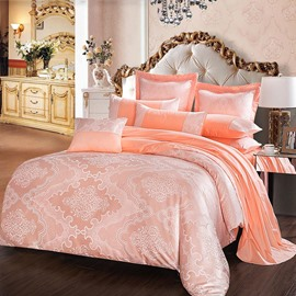 Pink Geometric Pattern Jacquard 4-Piece Bedding Sets/Duvet Cover