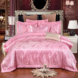 Pink Sweet Rose Jacquard Polyester 4-Piece Bedding Sets/Duvet Cover