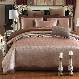 Solid Color Jacquard Brown Polyester 4-Piece Bedding Sets/Duvet Cover