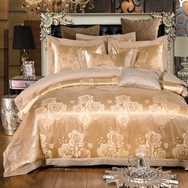 Golden Rose Embroidery Luxury Shiny Polyester 4-Piece Bedding Sets/Duvet Cover