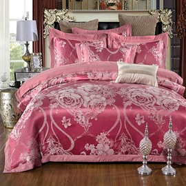 Embroidery Peonies Red Polyester 4-Piece Bedding Sets/Duvet Cover
