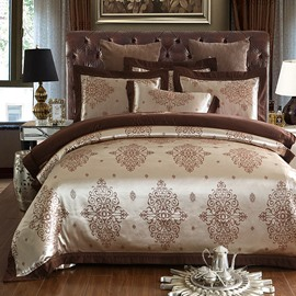 Geometric Pattern Embroidery Golden Luxury Polyester 4-Piece Bedding Sets/Duvet Cover