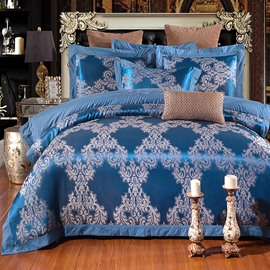 Floral Pattern Jacquard Royal Blue Elegant Polyester Printing 4-Piece Bedding Sets/Duvet Cover