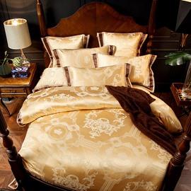 Golden Luxury Geometric Jacquard 4-Piece Polyester Bedding Sets/Duvet Cover