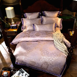Unique Jacquard Flower Light Purple 4-Piece Polyester Bedding Sets/Duvet Cover