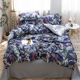 Breathable And Soft LeavesPrinted 4-Piece Silky Bedding Sets/Duvet Covers