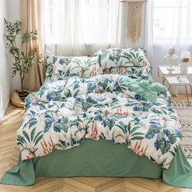 Handle Delicated Leaf Printed 4-Piece Silky Bedding Sets/Duvet Covers