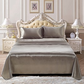 Cream White 4 Piece Silk Like Duvet Cover Sets