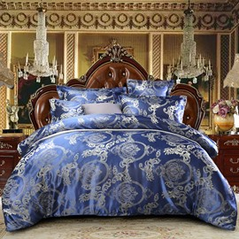 Blue Jacquard Royal Style Skin-friendly Smooth 4-Piece Polyester Bedding Sets Luxury Silky Duvet Cover Set for Full/Queen Size Bed with Non-slip Ties