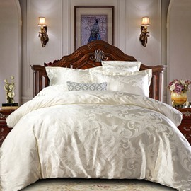 White Jacquard Royal Style Reactive Printing 4-Piece Polyester Bedding Sets/Duvet Covers