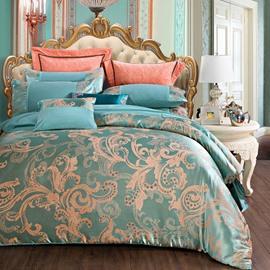 Lake Blue Satin Jacquard Silky Soft Cotton 4-Piece Bedding Sets/Duvet Cover