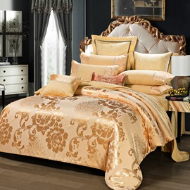 Luxury Yellow Satin Jacquard Silky Soft Cotton 4-Piece Bedding Sets/Duvet Cover