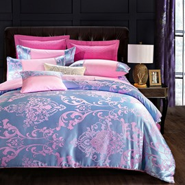 Luxury Pink and Blue Silky Soft Cotton 4-Piece Bedding Sets Skin-friendly Satin Jacquard Duvet Cover