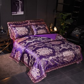 Luxury Purple Satin Jacquard Soft Cotton Silky Bedding Sets 4-Piece Bedding Sets Skin-friendly Duvet Cover Full/Queen Size