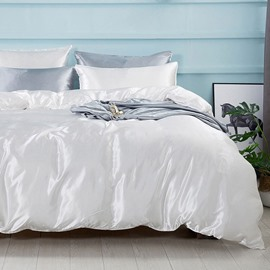 Solid Color Soft Silky Bedding Sets Duvet Cover Four-Piece Set White Gray Colorfast Gray 2 Pillowcases Flat Sheet