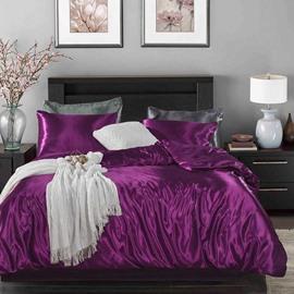Purple Silk Four-Piece Duvet Cover Set Sexy 100% Super Soft Microfiber Bedding Collection Duvet Cover 2 Pillowcases Flat Sheet