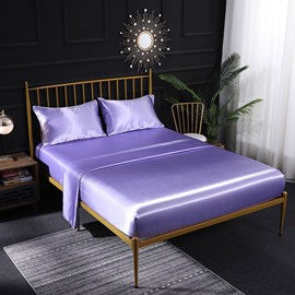 Hotel Luxury Silky Four-Piece Set Bed Sheets Extra Soft Microfiber Sheet Set Wrinkle Fade Stain Resistant Fitted Sheet Pillow Cases Flat Sheet