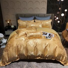 Luxury Silky Satin Jacquard 4-Piece Bedding Set Skin-friendly Soft Cotton Duvet Cover Set Queen King Size