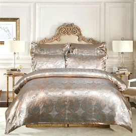 High-end European 3-Piece Silky Satin Jacquard Bedding Set Skin-friendly Polyester Duvet Cover Set 2 Pillowcases Twin Queen King Size Champagne Red Blue
