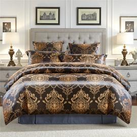 European Silky Satin Jacquard 3-Piece Bedding Set Skin-friendly Polyester Duvet Cover Set 2 Pillowcases Twin Queen King Size Black Golden Purple Red