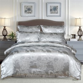 Silky Satin Jacquard 3-Piece Bedding Set Skin-friendly Polyester Duvet Cover Set 2 Pillowcases Twin Queen King Size Silver Blue Red