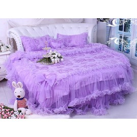 Lace Edging Cotton Princess 4-Piece Purple Duvet Covers/Bedding Sets