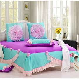 Romantic Pink Lace Flowers Princess Style Cotton 6-piece Bedding Sets/Duvet Cover
