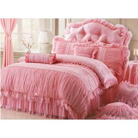 Cotton and Lace Fabric Pink Colour Princess 4-Piece Duvet Covers/Bedding Sets