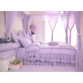 Dot and Heart Pattern Cotton and Lace Full Size 4-Piece Duvet Covers/Bedding Sets