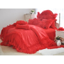 High Quality Romantic Red Lace 4-Piece Cotton Duvet Cover Sets