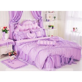 Bowknot Lace Trimming Cotton Princess 4-Piece Full Size Duvet Covers/Bedding Sets